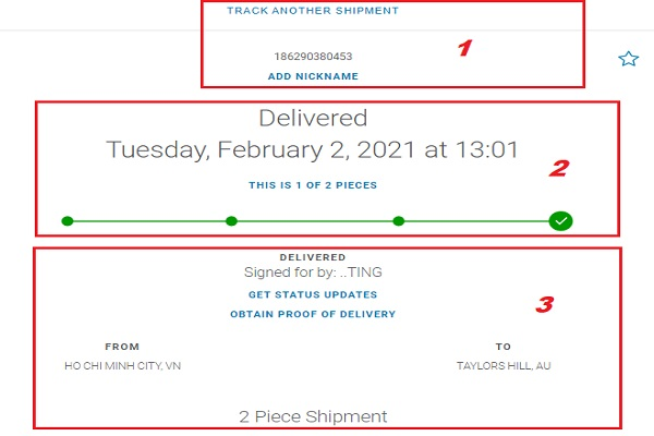 tracking number FedEx express Vietnam